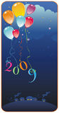 Vector greeting card 2009. Happy new year greeting card with colorful balloons. With space for your text. To see similar illustrations please visit my gallery Royalty Free Stock Photography