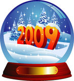 Vector greeting card 2009. Vector snow globe with a 2009 text  within Royalty Free Stock Photography