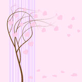 Vector greeting card. Vector greeting card with tree for valentine's day Stock Photo