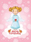 Vector greeting card with angel standing on a cloud. Christmas illustration with an angel on a pink background Royalty Free Stock Image