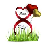 Vector greeting card with balloons and grass on a white background. March 8 Women s Day.  royalty free illustration