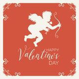 Valentine card with Cupid, bow, arrow and hearts. Vector greeting card or banner with Cupid with bow and arrow in a frame with curls. Handwritten calligraphic Stock Images