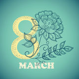 Vector greeting card or banner for 8 march. Happy Women`s Day Stock Photos