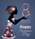 Vector greeting card or banner for 8 march. Happy Women's Day Stock Image
