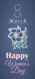 Vector greeting card or banner for 8 march. Happy Women's Day Stock Photos
