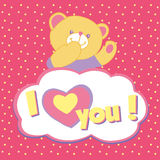 Vector greeting card with bear Stock Image
