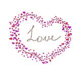 Vector greeting card with big heart and lettering love, hand drawn. Many little hearts red and pink. Simple drowing on Valentine`s day Stock Photos