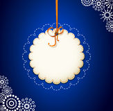 Vector greeting card on a blue background with bow Royalty Free Stock Photography