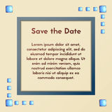 Vector greeting card with blue stones. Save the date. Postcard illustration. Stock Photos
