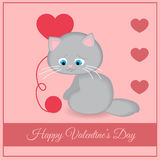 Vector greeting card with cat Stock Photo
