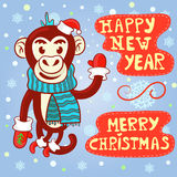 Vector greeting card with Christmas and new year. A cute monkey in the Christmas cap, scarf and mittens waving a welcome with his paw on the background of Royalty Free Stock Photography