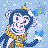 Vector greeting card with Christmas and new year. A cute monkey in the Christmas cap, scarf and mittens waving a welcome with his paw on the background of Royalty Free Stock Images