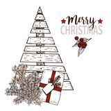 Vector greeting card for Christmas. Plywood christmas tree, pine tree brancges and gift package. Vintage hand drawn art. Use for seasonal greeting, party decor Stock Photos