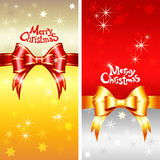 Vector greeting card with Christmas ribbons, bow a Stock Image