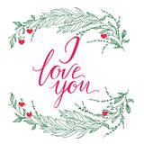 Vector greeting card. Composition with I LOVE YOU inscription and green broad branchs on a white background. Universal love postal. Vector greeting card Royalty Free Stock Photography