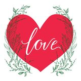 Vector greeting card. Composition with LOVE inscription on a big red heart and green broad branches on a white background. Univers. Al love postal Royalty Free Stock Photos