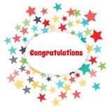 Vector greeting card. Congratulate. Congratulate. Vector greeting card. Fireworks from the stars Royalty Free Stock Photos