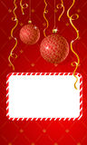 Vector greeting card with copy-space. And Christmas decorations Stock Photo