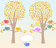 Vector Greeting card with cute birds under tree Stock Images
