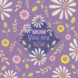 Vector greeting card design to Mothers day. Mom, you are the best Stock Image