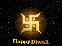 Vector greeting card for diwali. Swastika pattern background with isolated big swastika with rays for happy diwali & other indian festival stock illustration