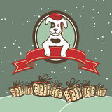 Vector greeting card with a dog in Santa hats, banners and ribbons of red Christmas gifts in the snow. Stock Images