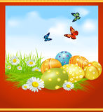 Vector greeting card for Easter with Easter eggs Stock Image