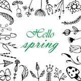 Vector greeting card with floral frame, `Hi, Spring` Royalty Free Stock Image