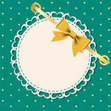 Vector greeting card with frame and bow. Stock Photo