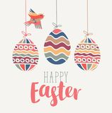 Greeting card with Easter eggs and bird. Vector greeting card with handwritten inscription, Easter eggs and bird, cut from paper in retro style Royalty Free Stock Photos