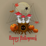 Vector greeting card Happy Halloween. With toadstools on a stump Royalty Free Stock Image