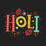 Vector greeting card Happy holi. Holi festival lettering with color decorative elements on black backgrounds. Indian festival Happy Holi Stock Images