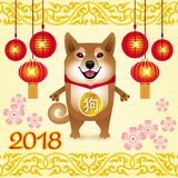 Greeting card Chinese new year with funny dog and Chinese lanter stock illustration