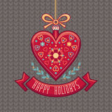 Vector Greeting Card in heart form. Happy Holidays Royalty Free Stock Images