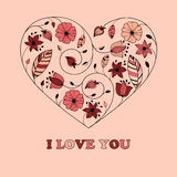 Vector Greeting Card with Heart Royalty Free Stock Photo