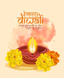 Vector greeting card for Hindu community festival Diwali Stock Photo