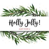 Vector greeting card, invite with Pine tree greenery branches, E. Ucalyptus Green leaf Wreath & black berry border, frame. Merry cute watercolor illustration royalty free illustration