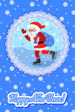 Vector greeting card with lettering congratulation and flat style Santa Claus on ice skates. Stock Photo
