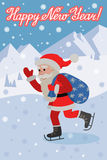 Vector greeting card with lettering congratulation and flat style Santa Claus on ice skates. Royalty Free Stock Images