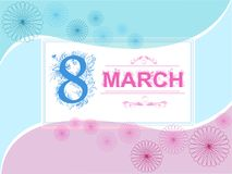 Vector greeting card march blue and pink with frame. Vector greeting card 8 march blue and pink with frame royalty free illustration