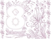 Vector greeting card for march. Vector line greeting card for march Stock Photography