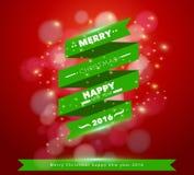 Vector greeting card merry christmas ribbon banner design Royalty Free Stock Photo
