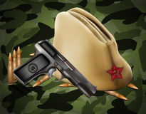 Vector greeting card with military objects. Related to Victory Day or 23 February vector illustration