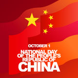 Vector greeting card for National Day of the People's Republic of China, October 1. Red flag and gold stars Royalty Free Stock Images