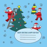 Vector greeting card for New Year and Christmas. With Santa Clauses and gifts Royalty Free Stock Images