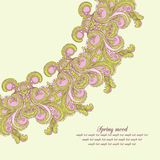 Vector greeting card with nice flourish ornament on the light gr Royalty Free Stock Photography