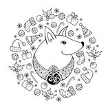 Vector greeting card with outline dog in black isolated. Symbol of Chinese New Year 2018 in contour style. Ornate dog and decoration for Christmas holiday Royalty Free Illustration