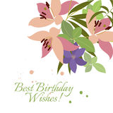 Vector greeting card pink lily and violet arabis flower arrangement Stock Image