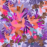 Vector greeting card pink lily and violet arabis flower arrangement Royalty Free Stock Photography