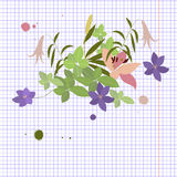 Vector greeting card pink lily and violet arabis flower arrangement Royalty Free Stock Photos
